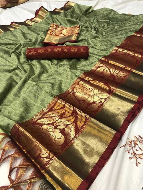 Green Color Beautiful Weaving Cotton Silk Saree - Antique Rose