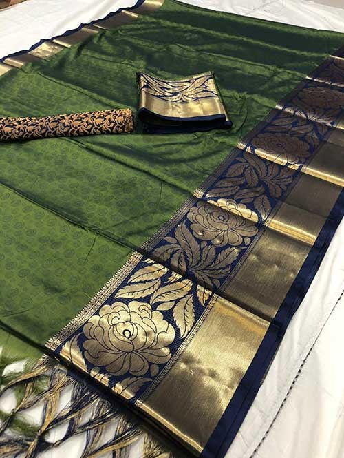 Green Color Beautiful Weaving Cotton Silk Saree - Antique Rose