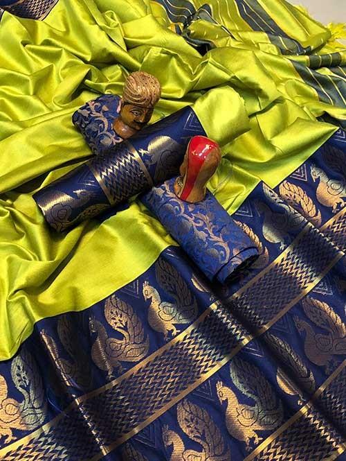Green Color Beautiful Weaving Cotton Silk Saree - Dollar