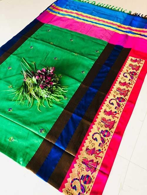 Green Color Beautiful Weaving Cotton Silk Saree - Jaisalmer