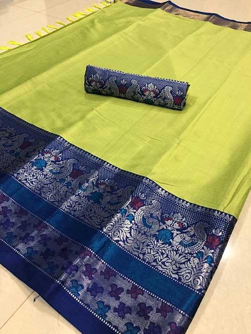 Green Color Beautiful Weaving Cotton Silk Saree - Kalakruti