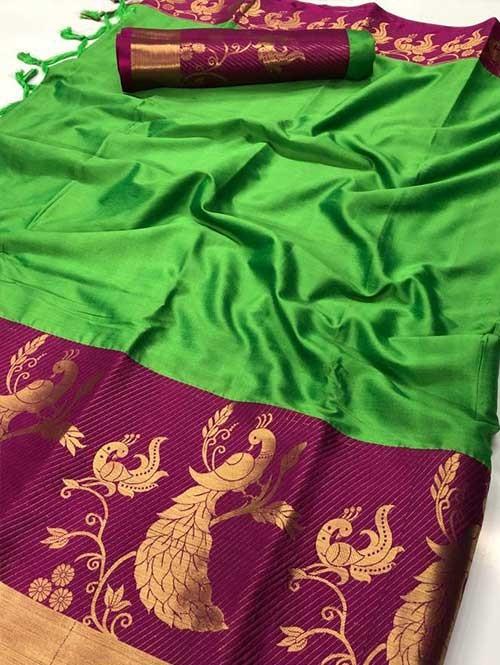 Green Color Beautiful Weaving Cotton Silk Saree