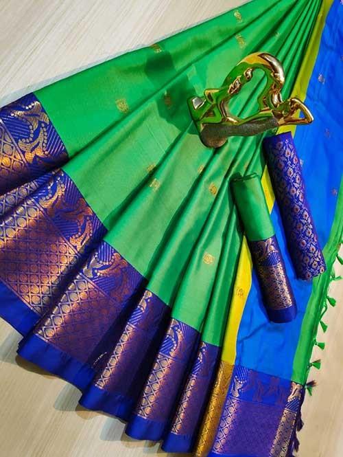 Green Color Beautiful Weaving Cotton Silk Saree - Mahiya & Ashra