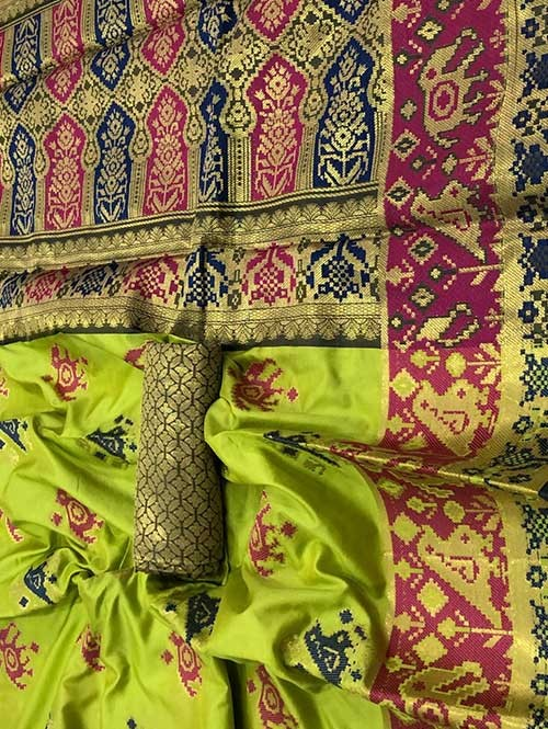 Green Color Beautiful Weaving Cotton Silk Saree - Patola