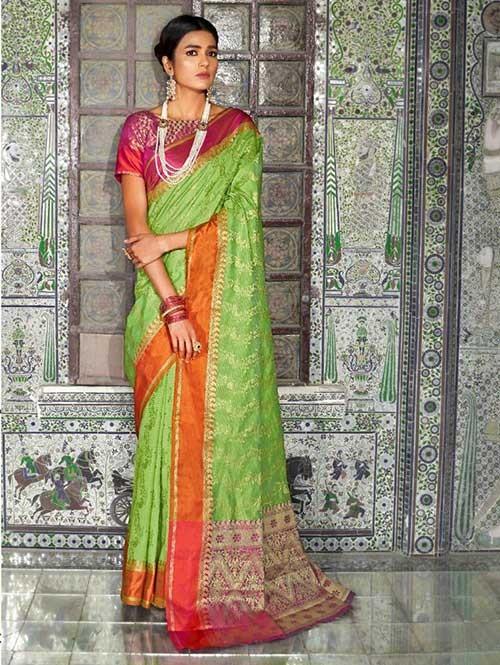 Green Color Beautiful Weaving Silk Saree - Kaanch