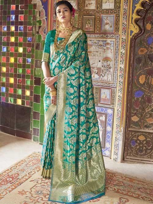 Green Color Beautiful Weaving Silk Saree - Kailashi