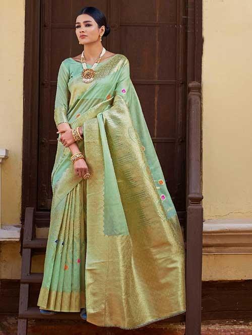 Green Color Beautiful Weaving Silk Saree - Kanshula