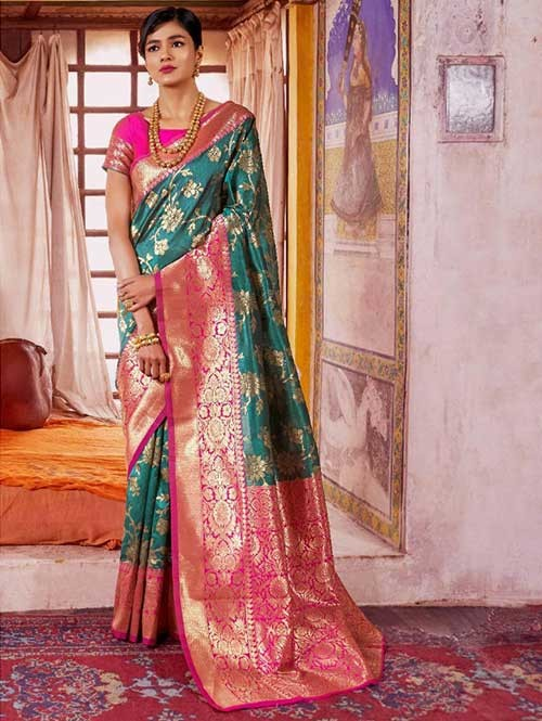 Green Color Beautiful Weaving Silk Saree - Karveena