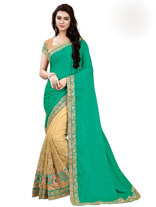 green-color-designer-beautiful-chiffon-and-net-saree-with-blouse-gnp0000044