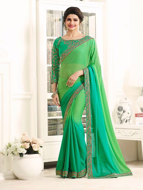 Green Color Georgeous Georgette Saree with Blouse