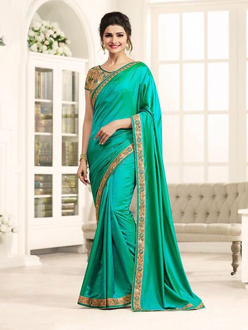 Green Color Georgeous Silk Satin saree with Blouse