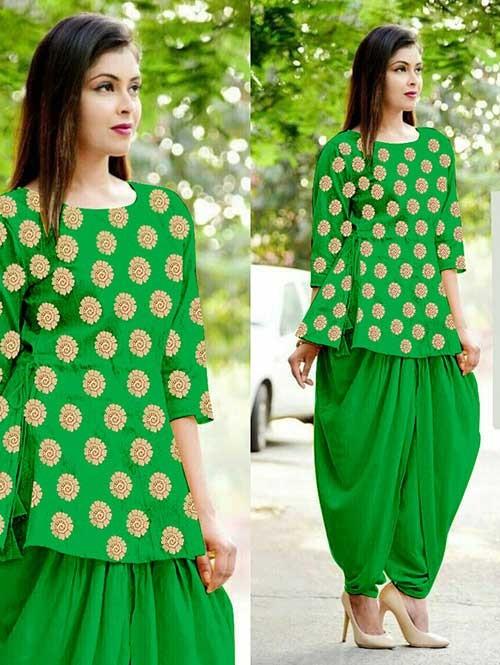 Green Color Heavy Cotton Jacquard Patiyala Style Ready-made Suit - Bunaai 3