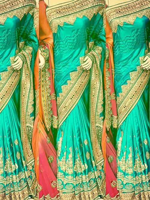 Green Color Heavy Embroidered gorgeous Silk saree for Traditional Wear