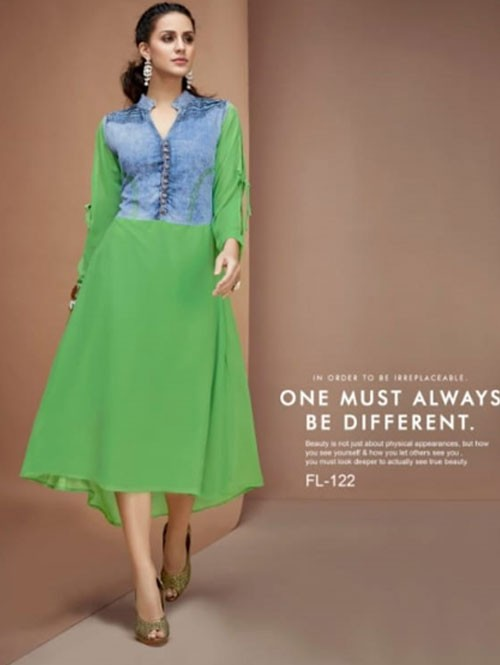 Green Colored A-Line Georgette Denim Kurti in Best Quality.