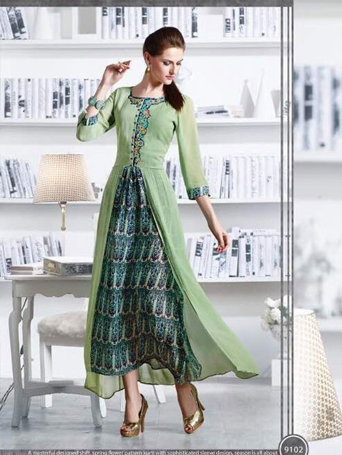 Green Colored Apricot Fancy Georgette Khatali Embroidered Work Kurties