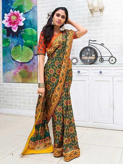 Green Colored Bandhani Printed Dola Silk Saree - Yaana