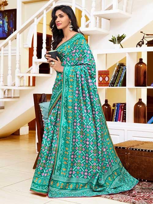 Green Colored Bandhani Printed Dola Solk Saree - Yaana