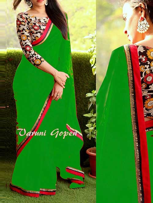 Green Colored Beautiful 60gm Georgette Saree