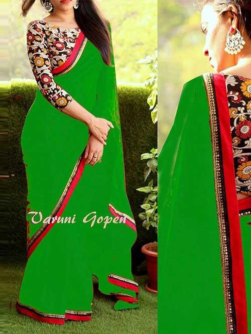 Green Colored Beautiful 60gm Georgette Saree