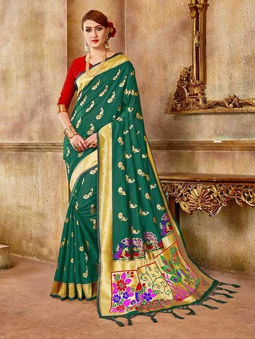 Green colored Beautiful Banarasi Silk Saree