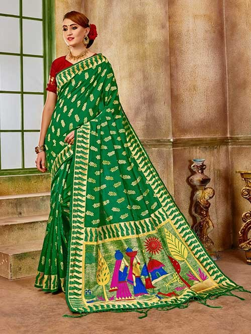 Green colored Beautiful Banarasi Silk Saree