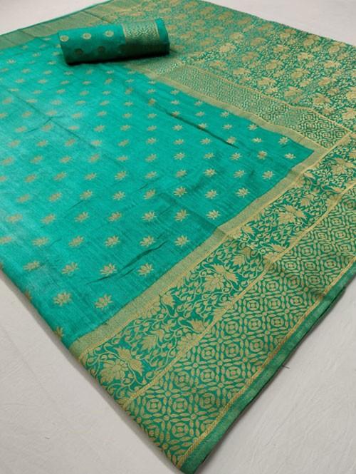 Green Colored Beautiful Branded Soft Weaving Silk Saree - Silk India