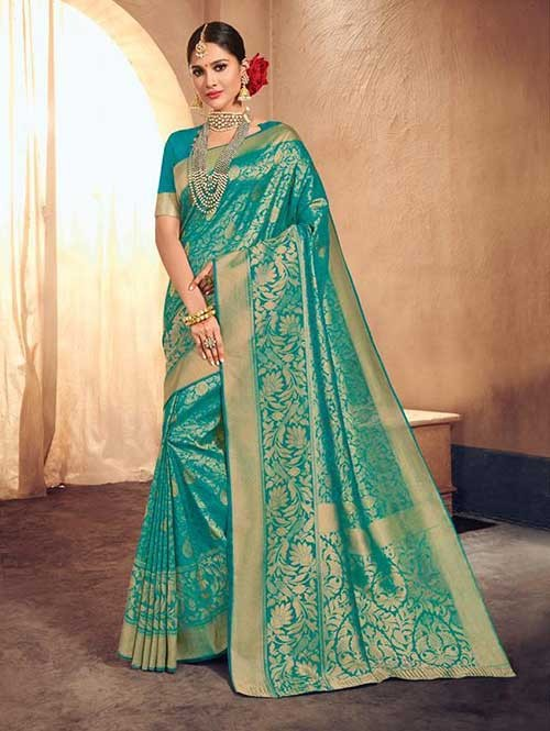 Green Colored Beautiful Branded Weaving Brocade Silk Saree - Queen