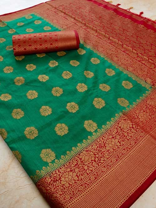 Green Colored Beautiful Branded Weaving Pure Silk Saree - Rani Jhanshi
