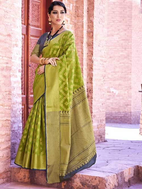Green Colored Beautiful Branded Weaving Silk Saree - Krystal