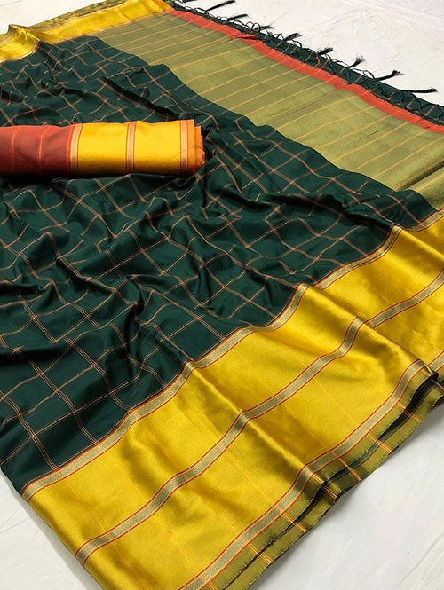 Green Colored Beautiful Branded Weaving Silk Saree - Vedika