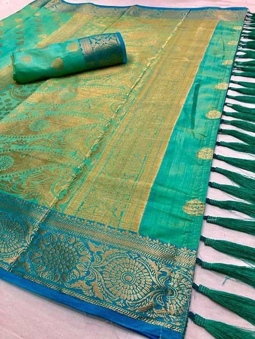 Green Colored Beautiful Branded Weaving Soft Nylon Silk Saree