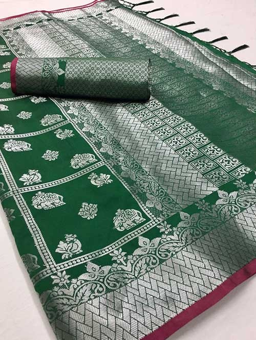 Green Colored Beautiful Branded Weaving Soft Silk Saree