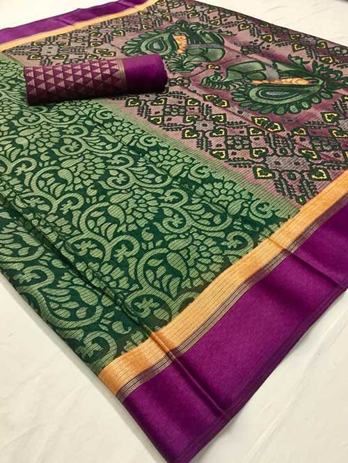 Green Colored Beautiful Brasso Soft Silk Fancy Saree With Kalamkari - Kudrat