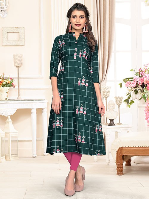 Green Colored Beautiful Chex Printed Straight Rayon Kurti