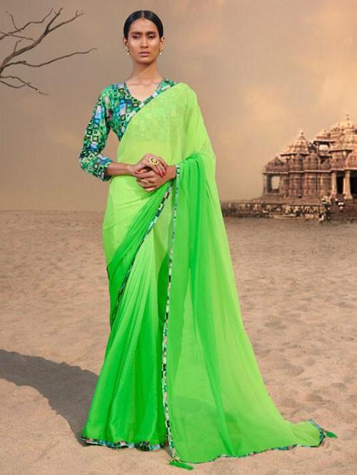 Green Colored Beautiful Chiffon Shaded Color Saree With Printed Saree