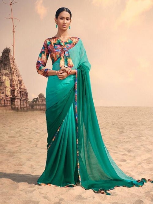 Green Colored Beautiful Chiffon Shaded Color Saree With Printed Saree