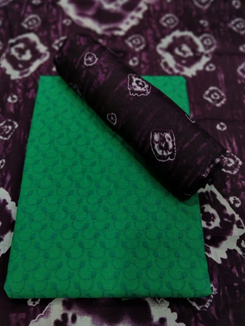 Green Colored Beautiful Chikan Work Cotton Dress Material.