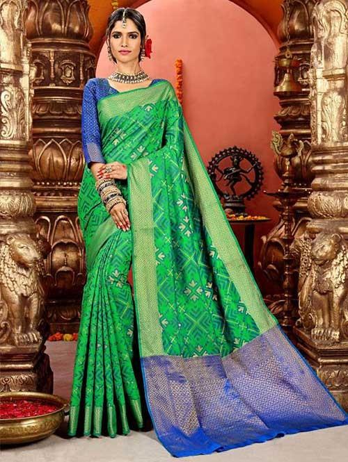 Green Colored Beautiful Cotton Silk Saree