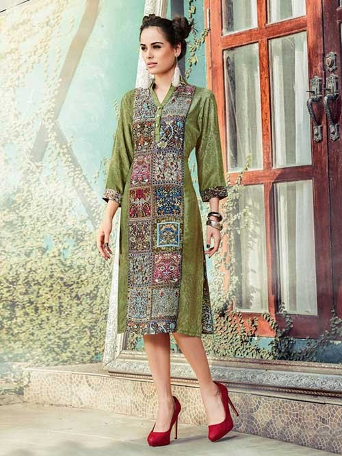 Mhendi Colored Gorgeous Printed Crepe Kurti.