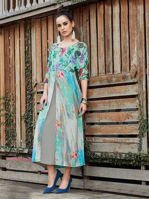Green Colored Gorgeous Printed Georgette and Crepe Kurti.