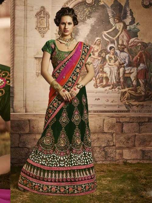 Green Colored Beautiful Embroidered Micro Velvet Lehenga