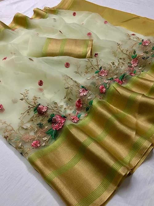Green Colored Beautiful Embroidered Branded Organza Silk Sarees