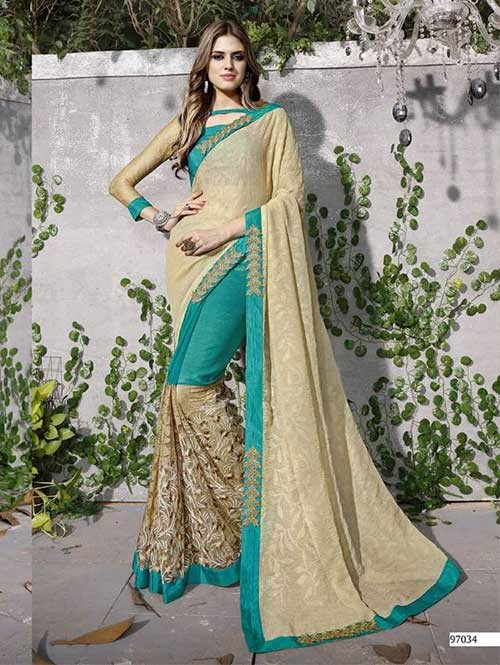 Green Colored Beautiful Embroidered Chiffon and Net Saree