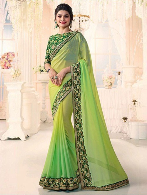 Green Colored Beautiful Embroidered Chiffon Saree