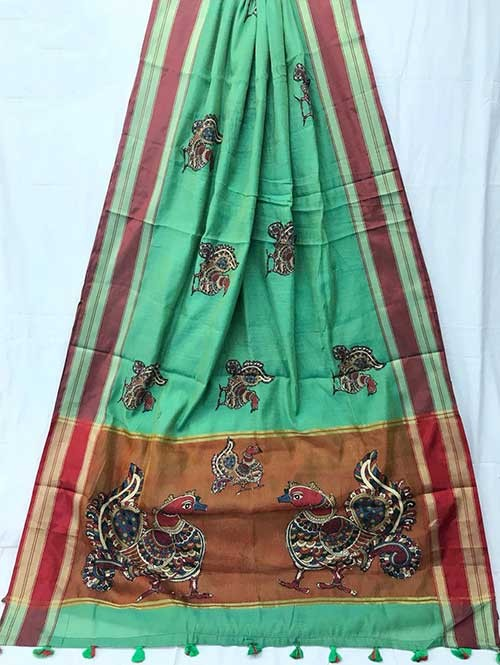 Green Colored Beautiful Embroidered Cotton Saree