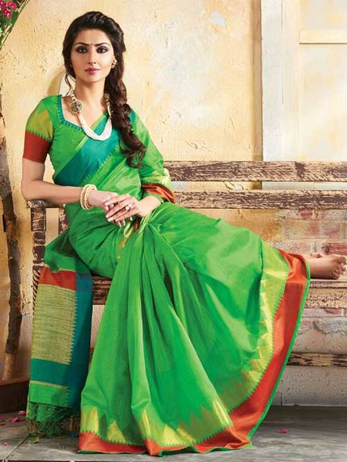Green Colored Beautiful Embroidered Cotton Saree With Matching Blouse