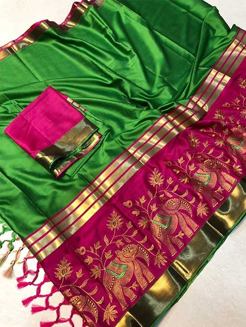 Green Colored Beautiful Embroidered Cotton Silk Saree