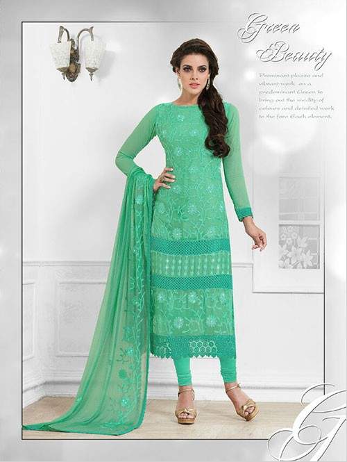 Green Colored Beautiful Embroidered Faux Chiffon Suit