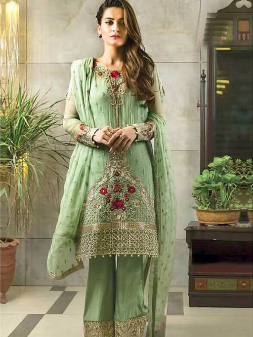 Green Colored Beautiful Embroidered Faux Georgette Pakistani Suit