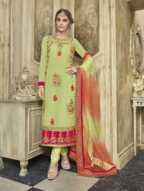 Green Colored Beautiful Embroidered Faux Georgette Salwar Suit With four side embroidery less with latkan Dupatta